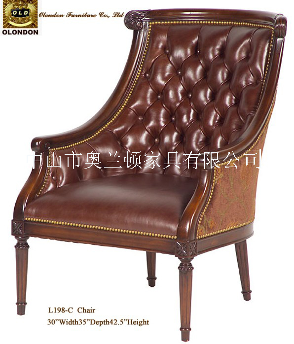 沙发类-全手工桦木雕花进口真皮沙发