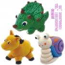 儿童陶泥作品图片_2 出口品质 泥巴王8色超轻粘土组合装小马 站姿小恐龙 蜗牛