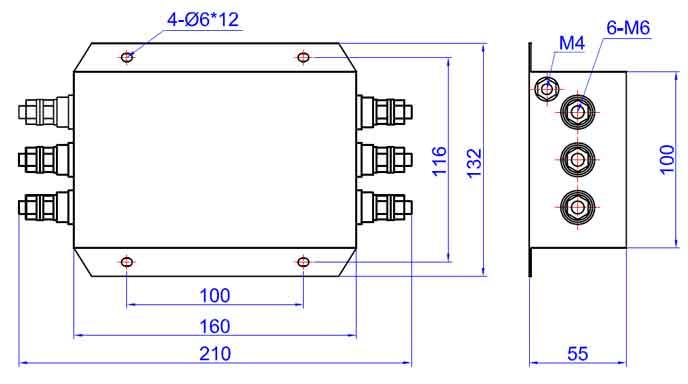 安装提示: 1 安装位置:滤波器安装的最佳位置应在电源线入口处,以缩短输入线在机箱内的长度,减少辐射干扰的空间耦合; 2 接地:滤波器的接地必须良好。对于金属外壳的滤波器,外壳必须与设备机箱进行低阻抗连接,即外壳必须与机箱面板面导电接触,并接好地线; 3滤波器输入端和输出端的布线:滤波器的输入线、输出线必须拉开距离,切忌并行走线,以避免输入线缆和输出线缆间发生耦合而旁路了滤波器,造成滤波器失效。  参考标准 [1] GB/T1528794 抑制射频干扰整件滤波器 第一部分 总规范 [2] GB/T