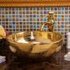 景德镇陶瓷艺术台盆个性洗脸盆洗手盆现代简约欧式金色圆形台盆