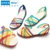 迪特洞洞鞋七彩塑料凉拖鞋女平跟镂空手工编织鱼嘴沙滩鞋批发