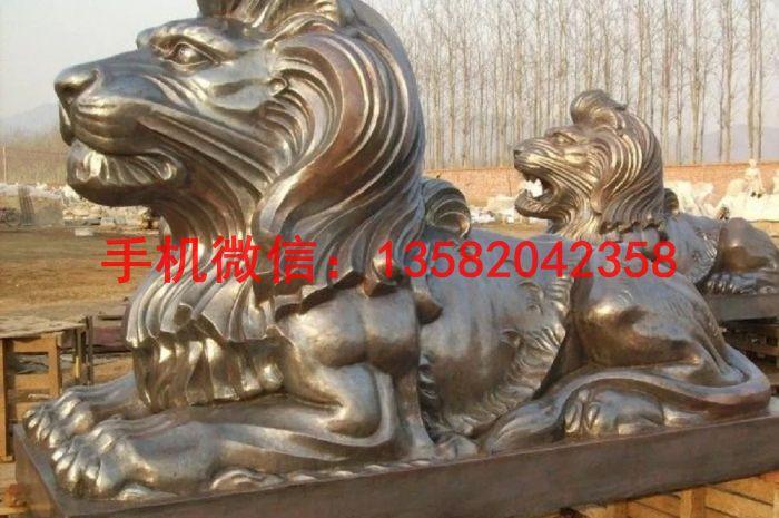 铜雕塑爬狮 爬狮制作
