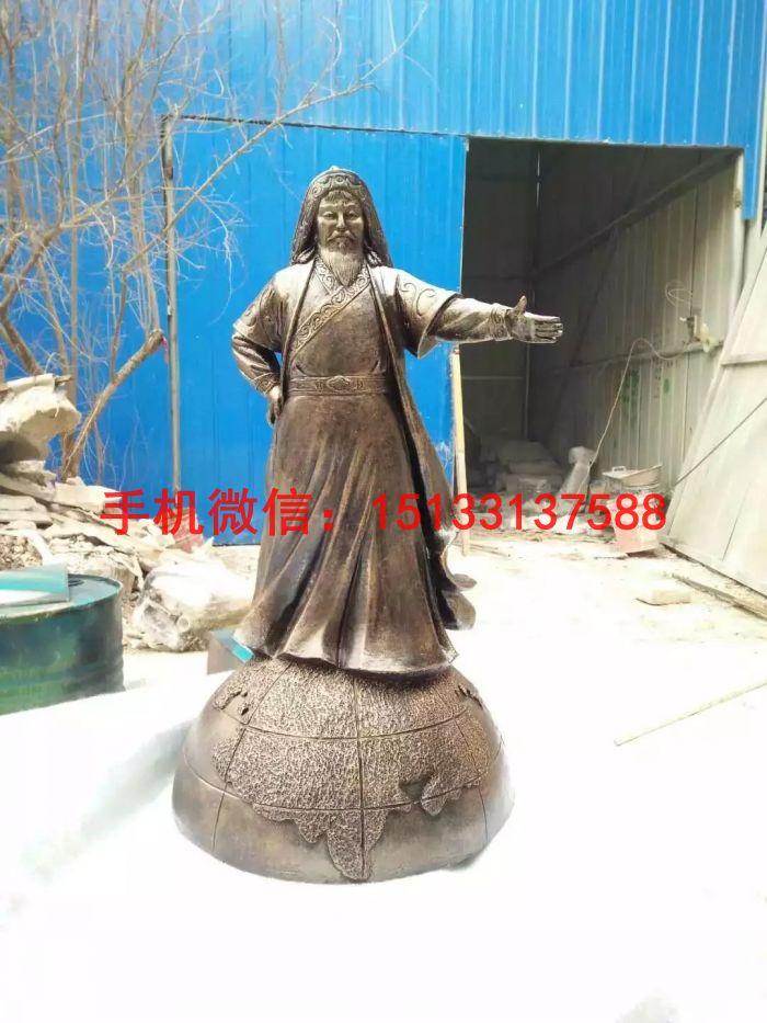 成吉思汗人物铜雕塑 站像成吉思汗雕塑