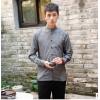 原创中国风亚麻男装长袖衬衫棉麻改良立领休闲衬衣